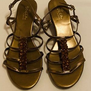 Sbicca Bronze with Beads wedge sandals, size 8W